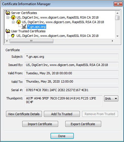 Screenshot of Eudora Certificate Information Manager