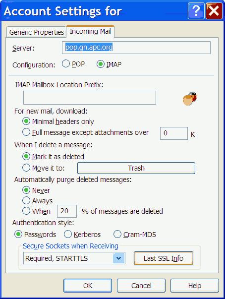 Screenshot of Eudora personality settings