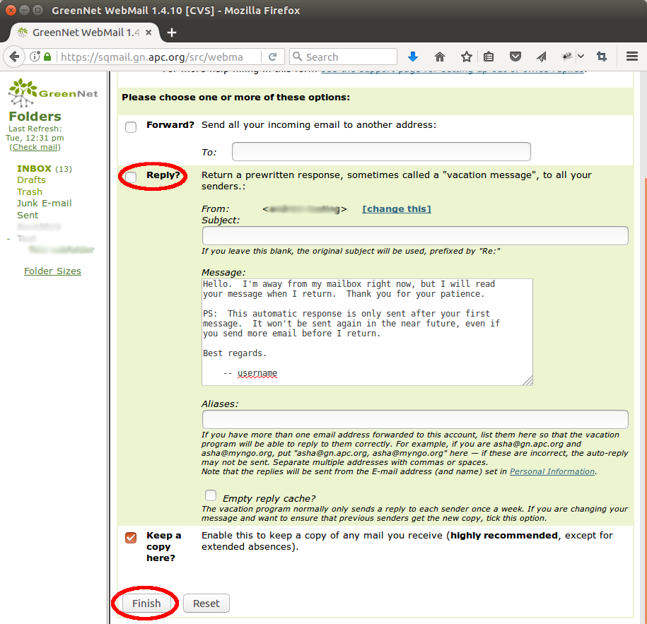 "A screenshot of Squirrelmail webmail, on the ""Auto Reply & Forward"" settings page"