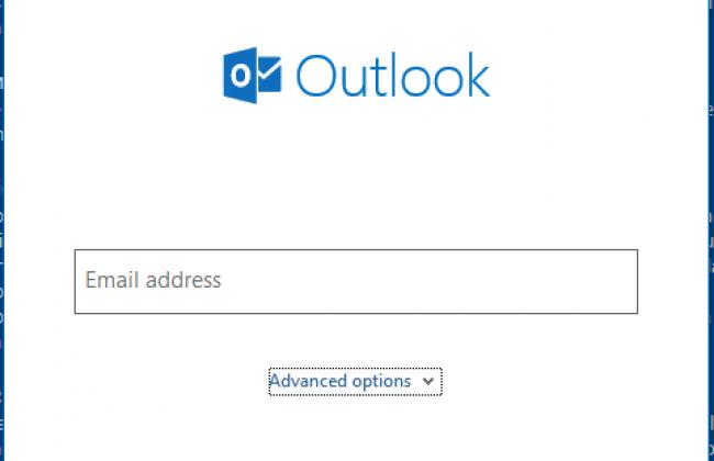 A screenshot of Micrososft Outlook's account setup screen