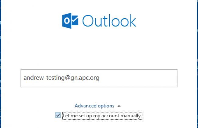 "A screenshot of Micrososft Outlook's account setup screen, with ""Let me set up my account manually"" selected"