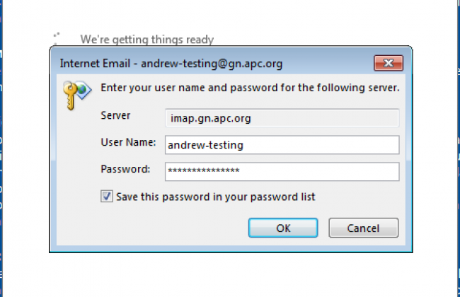 A screenshot of Micrososft Outlook's second password prompt, filled in