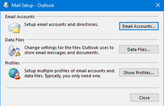 Screenshot of Windows Mail setup panel