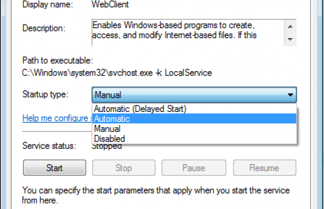 WebClient service settings