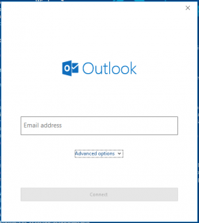 A screenshot of Micrososft Outlook's account setup screen